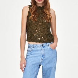 Zara olive lace top NWT